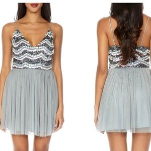 Nwot lace and Beads Amika mini tulle dress medium